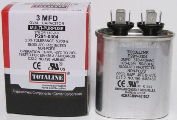 3 mfd 370 440 volt oval capacitor