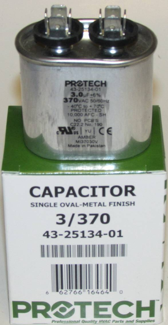 3 Mfd 370 Volt Protech Rheem Ruud Oval Run Capacitor
