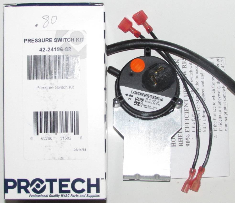 42 24196 82 Rheem Ruud Furnace Pressure Switch Kit Control Main Circuit Board Honeywell Heat
