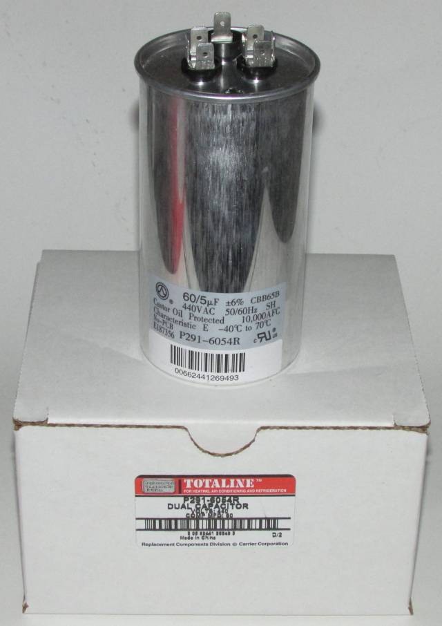 60/5 MFD 440 Volt Bryant Carrier Dual Round Run Capacitor