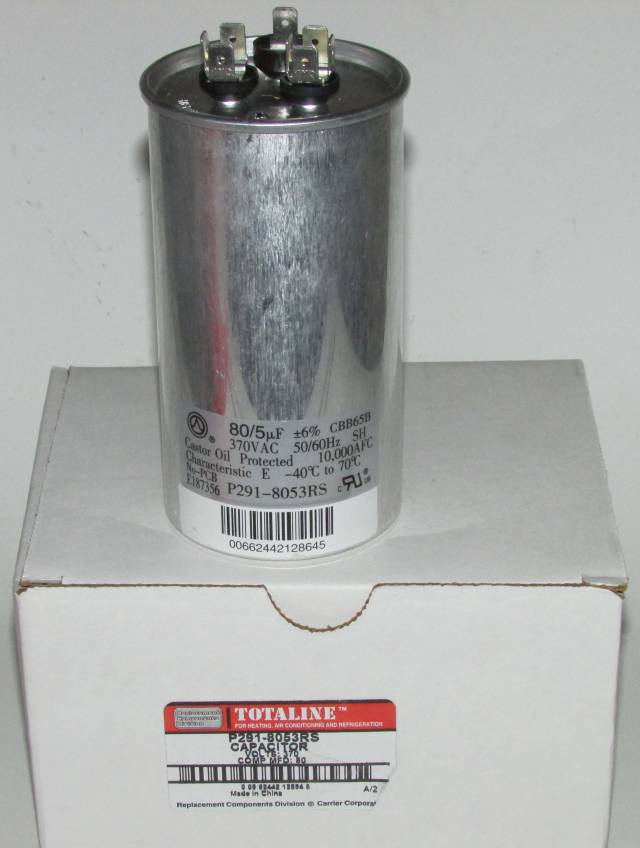 80/5 MFD 370 Volt Bryant Carrier Dual Round Run Capacitor