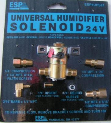UHS24 ESP Universal Humidifier Water Solenoid Valve 24 Volts