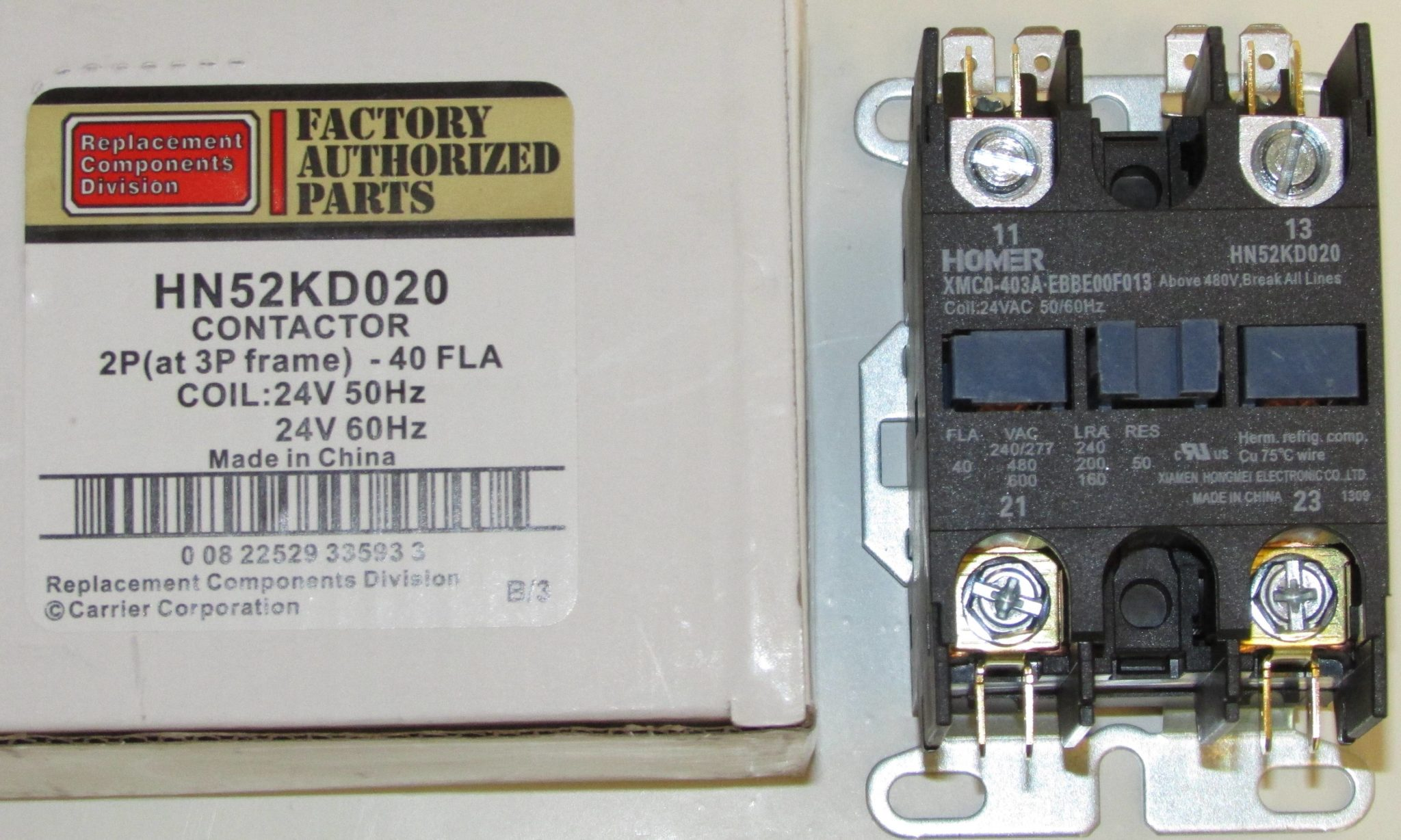 HN52KD020 Bryant Carrier Air Conditioner Contactor