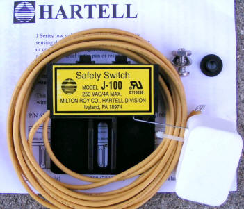 Hartell Low Voltage Secondary Drain Pan Safety Switch J100