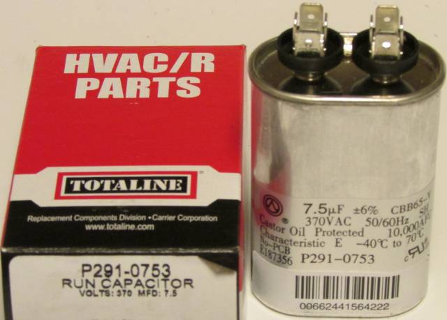 7 5 Mfd 370 Volt Bryant Carrier Totaline Oval Run Capacitor