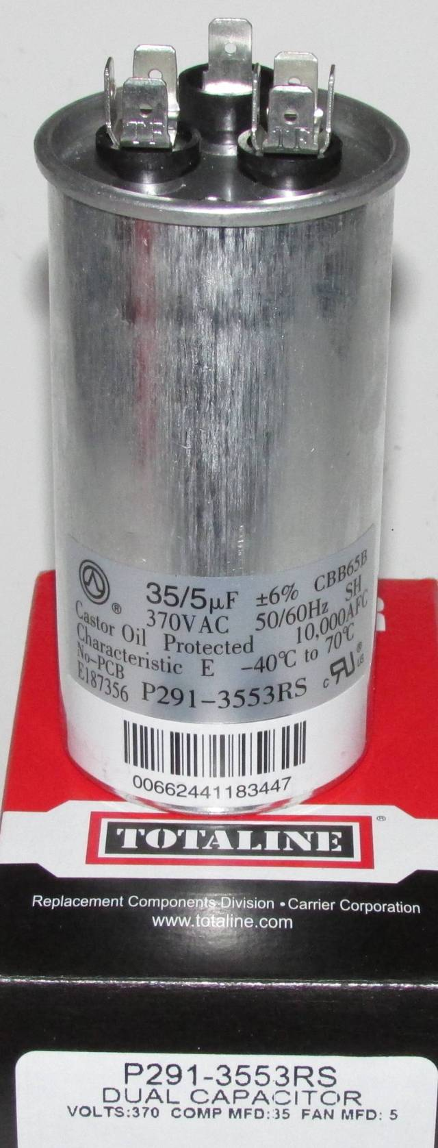 35 5 Mfd 370 Volt Bryant Carrier Dual Round Run Capacitor
