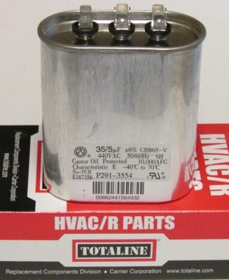 35/5 MFD Bryant Carrier Totaline Dual Oval Air Conditioner Capacitor