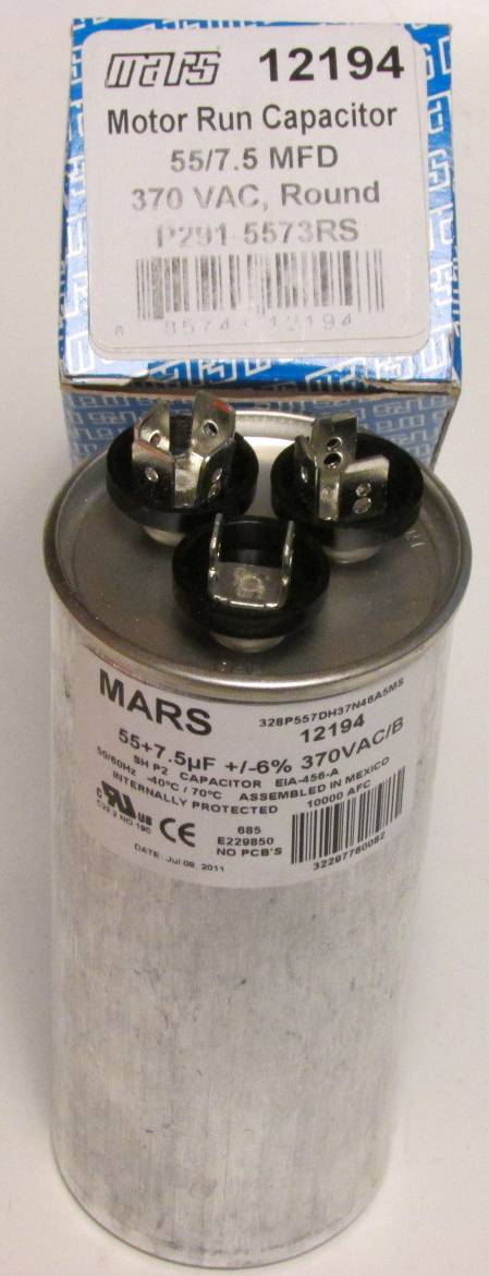 55 7 5 Mfd 370 Volt Bryant Carrier Dual Round Run Capacitor