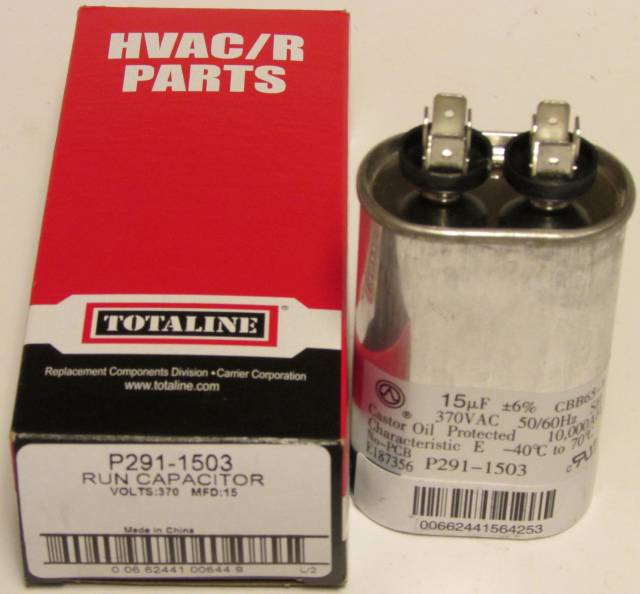 15 Mfd 370 Volt Bryant Carrier Totaline Oval Run Capacitor