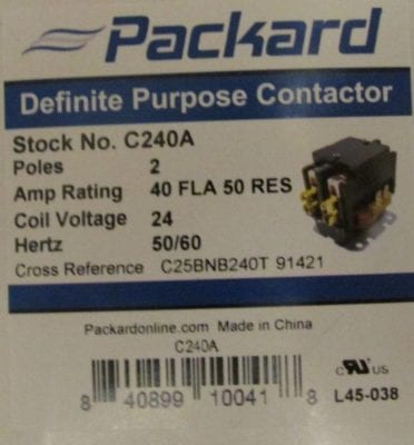 packard C240A contactor box2