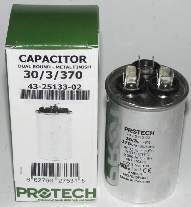 30 3 Mfd 370 Volt Protech Dual Round Run Capacitor