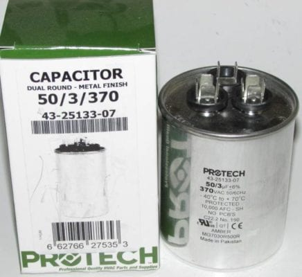 50/3 MFD 370 Volt Protech Dual Round Run Capacitor