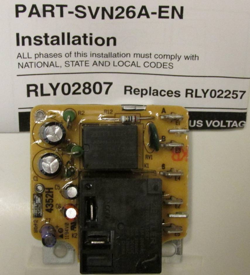 Rly02807 American Standard Trane Air Handler Fan Time Delay Relay Wiring Diagram