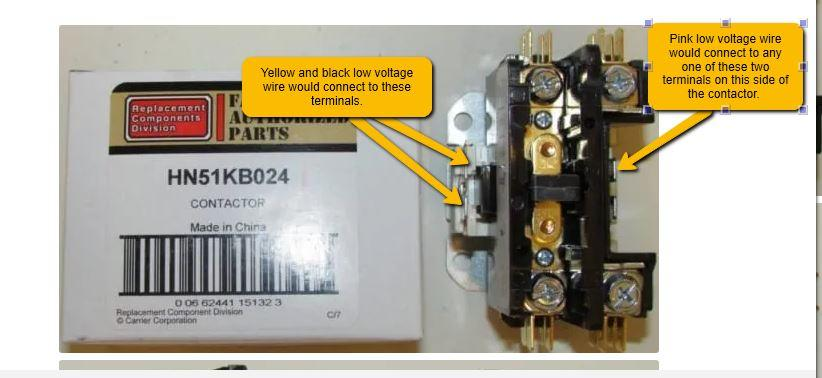 wiring when replacing Honeywell DP1030A5014 contactor