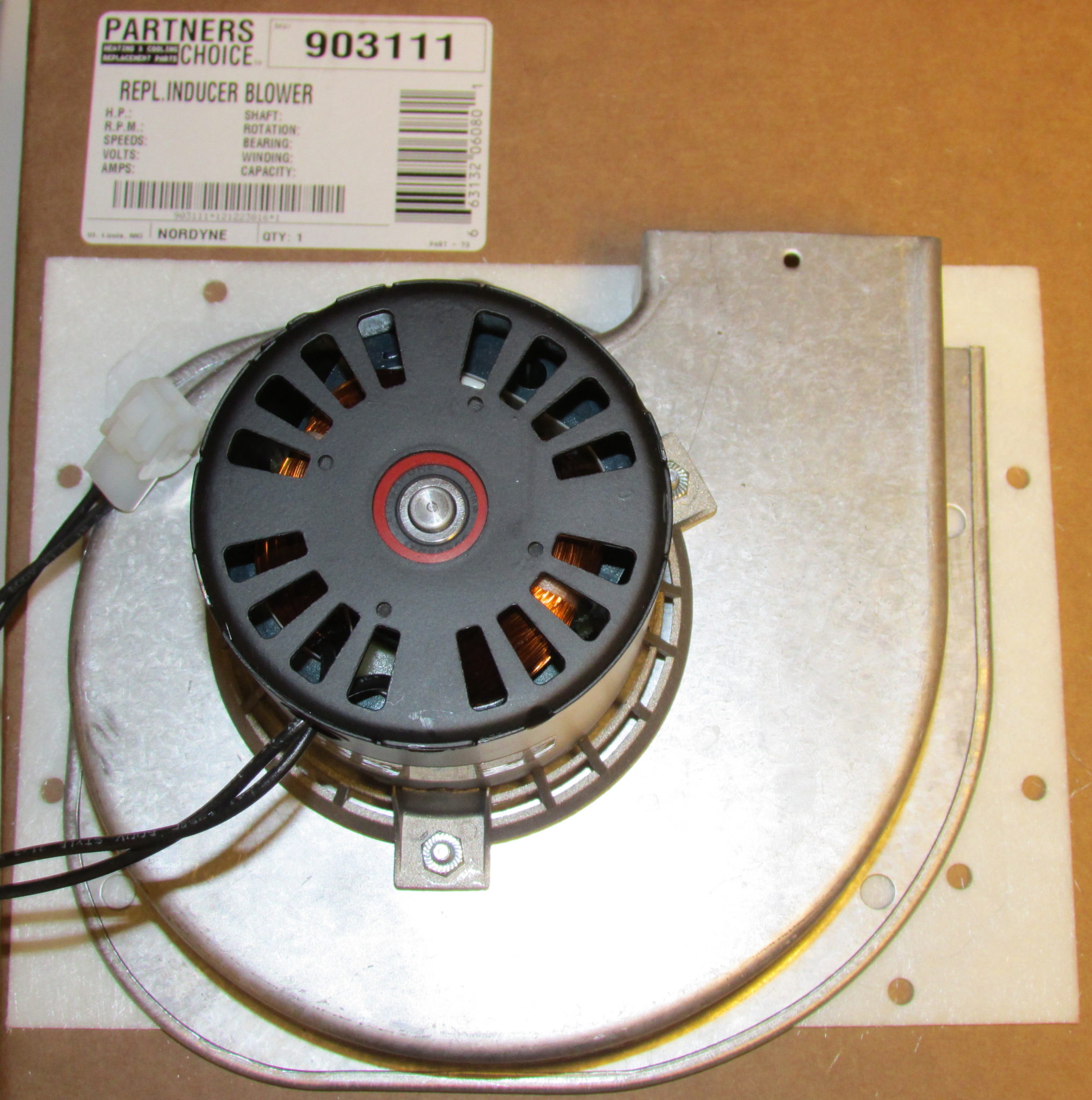 Nordyne Furnace Draft Inducer Blower Part 903111 on nordyne electric furnace parts