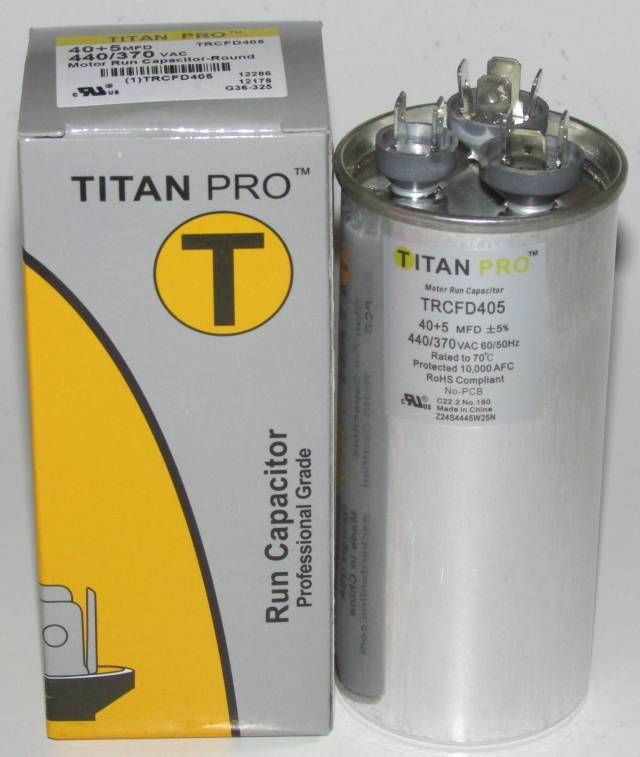 40/5 MFD Titan Pro Dual Round Extended Life Run Capacitor