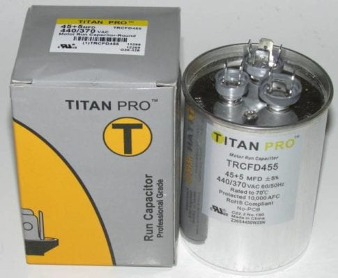 45/5 MFD Titan Pro Dual Round Extended Life Run Capacitor