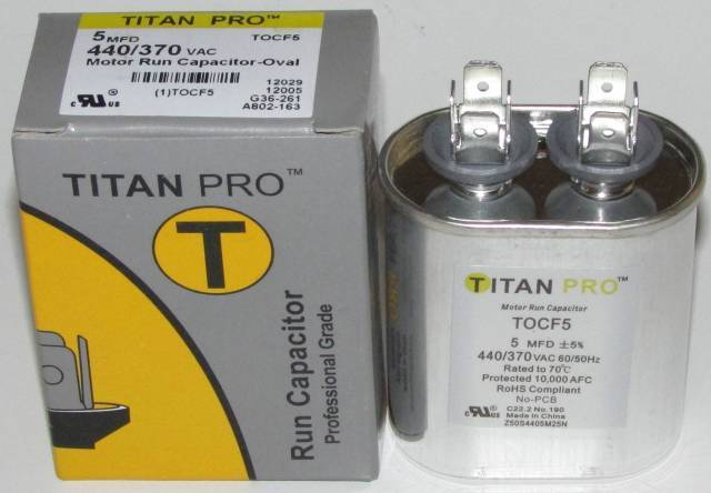 5 Mfd Titan Pro Oval Extended Life Run Capacitor