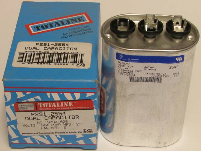 25 5 Mfd Bryant Carrier Totaline Dual Oval Run Capacitor