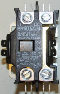 Above close-up of 42-25101-01 Rheem Ruud Air Conditioner Heat Pump Contactor Single Pole