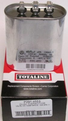 45/5 MFD Bryant Carrier Totaline Dual Oval Run Capacitor