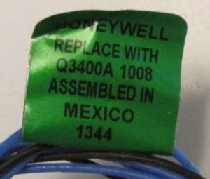70L5401 pilot burner label
