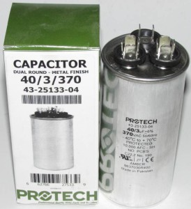 40/3 MFD 370 Volt Protech Dual Round Run Capacitor