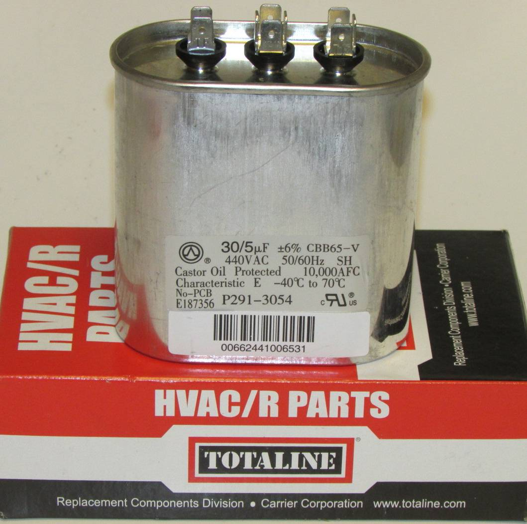 Carrier Furnace Parts >> Bryant Carrier Totaline 30/5 MFD Dual Oval Air Conditioner Capacitor