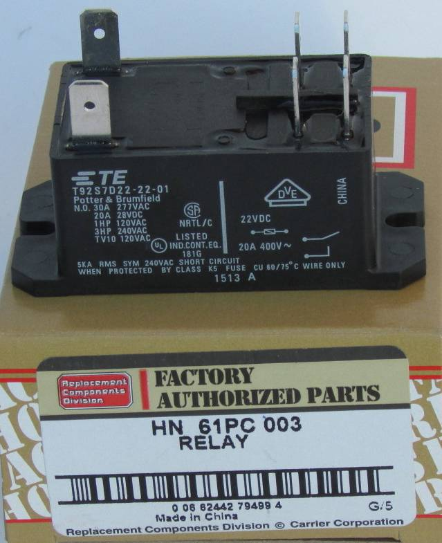 Carrier Furnace Parts >> HN61PC003 Bryant Carrier Relay