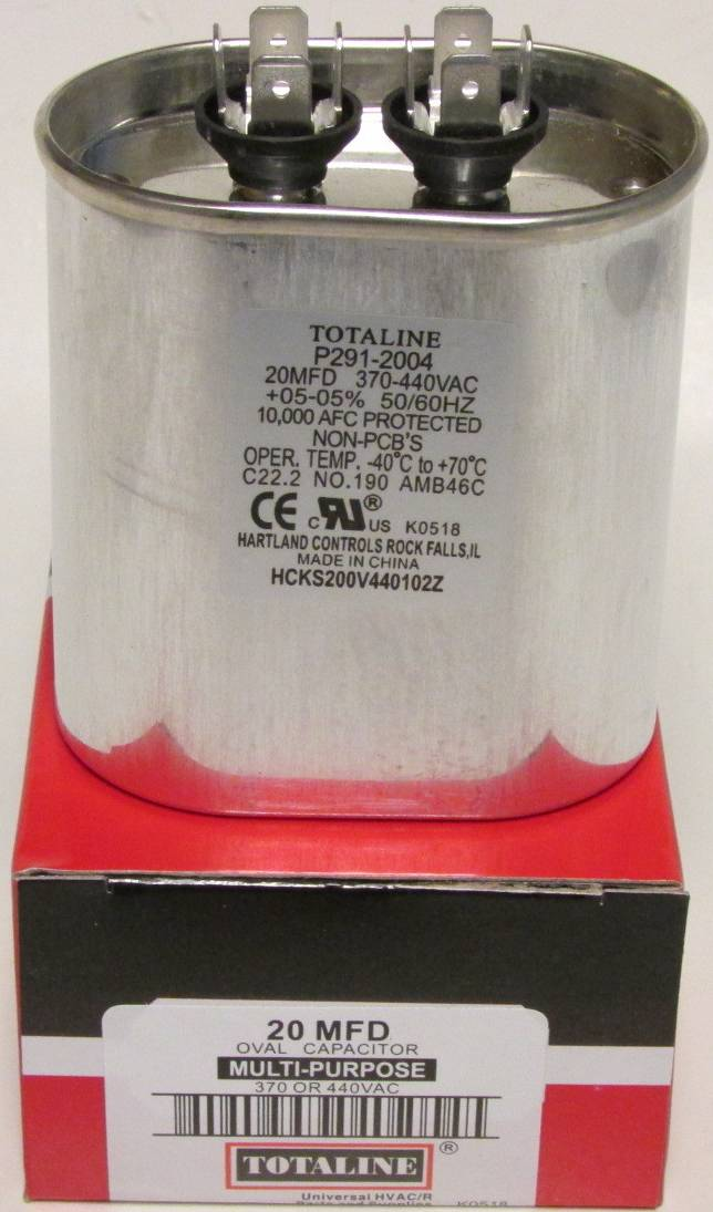 20 Mfd 370 440 Volt Totaline Oval Run Capacitor Arnold